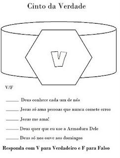 Resultado de imagem para a armadura de Deus - cinto da verdade atividades e desenhos