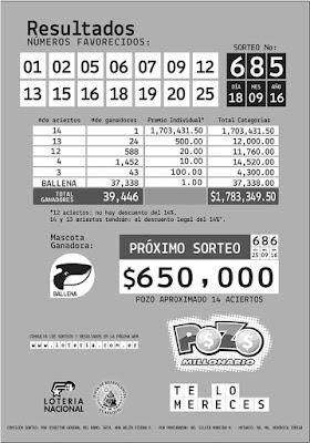 pozo millonario sorteo 685