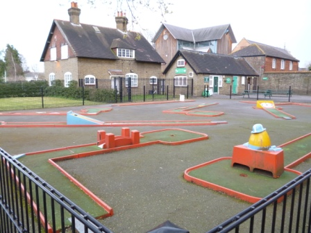 The 9-hole Crazy Golf course at The Grove Park in Carshalton, Sutton
