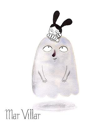 Dibujo de fantasma, ilustración de fantasma, diseño de personajes, tinta, Mar Villar, fantasma amigo