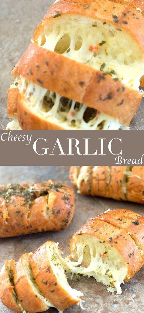 Cheesy Garlic Bread With Italian Spices #SIDEDISH #AMERICAN #VEGETARIAN