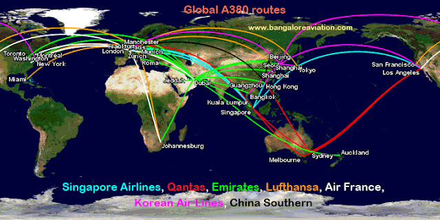 MAP: All the routes flown by all airlines operating the Airbus A380