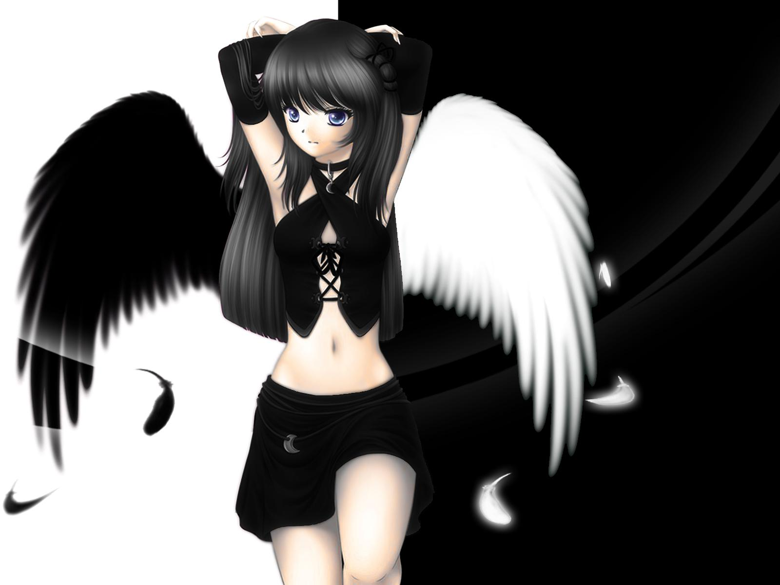 Anime Girl With Brown Hair And Black Wings