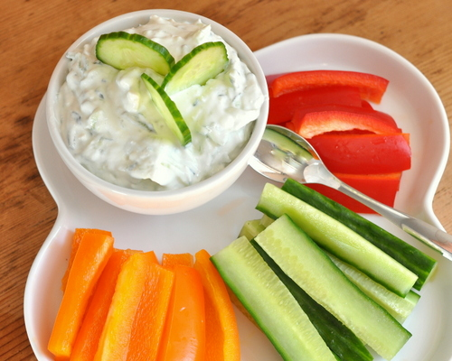 Cucumber Dip with Feta, another easy Summer Easy recipe ♥ KitchenParade.com, easy creamy cucumber dip, great for serving with vegetables and grilled steak. Low Cal. Low Carb. Gluten Free.