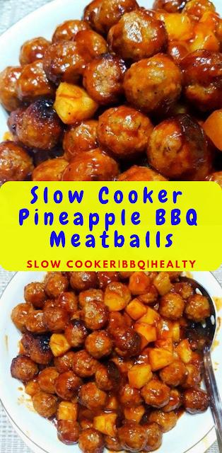 Slow Cooker Pineapple BBQ Meatballs