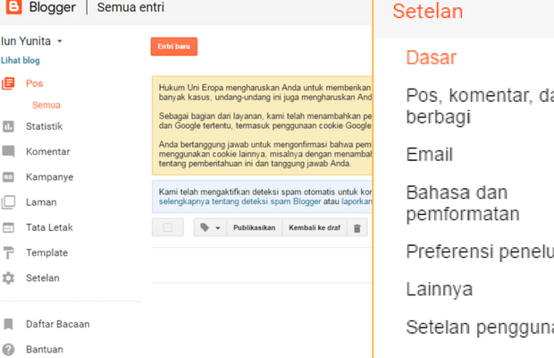 menu-menu di dashboard baru Blogger.