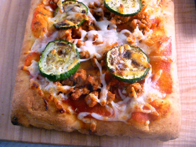Crispy and savory Zucchini and Saugage Flatbread Pizza done in about 30 minutes!  Perfect for Father's Day - Slice of Southern