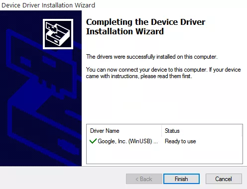 Finish Installing 15 Seconds ADB FastBoot Drivers Installer