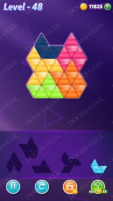 Block! Triangle Puzzle 5 Mania Level 48 Solution, Cheats, Walkthrough for Android, iPhone, iPad and iPod