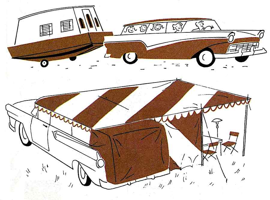 a 1957 family camping trailer illustration