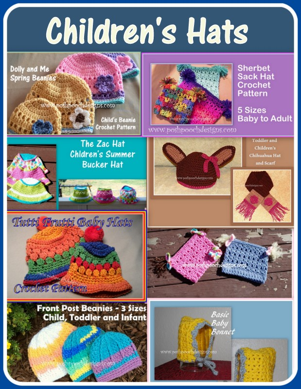 Posh Pooch Designs Dog Clothes Childrens Hats Crochet Pattern