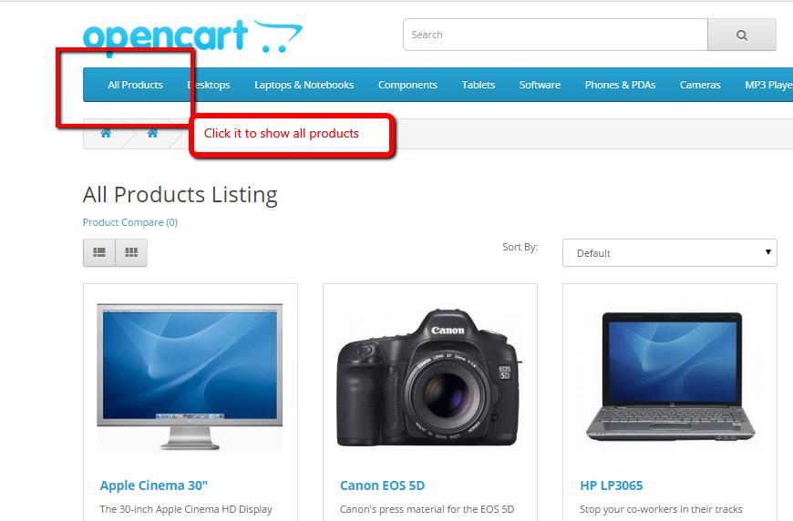 Display all products opencart - Hiển thị tất cả sản phẩm trên 1 page cho Opencart 3