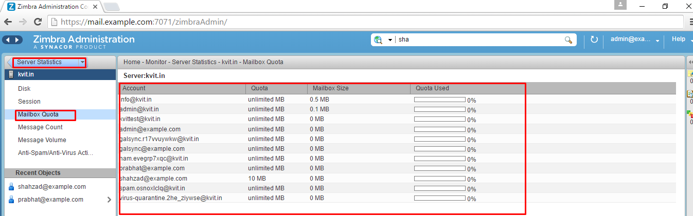 How to check status of mailbox quota in Zimbra Mail server