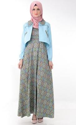 Model Gamis Batik Kombinasi Blazer terbaru