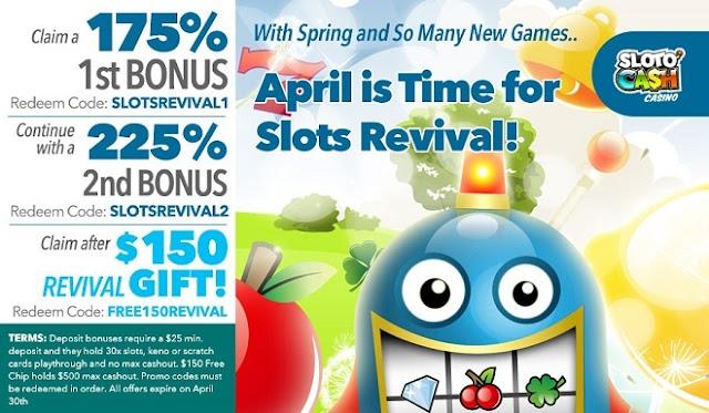 Sloto Cash casino April match and free chip bonus