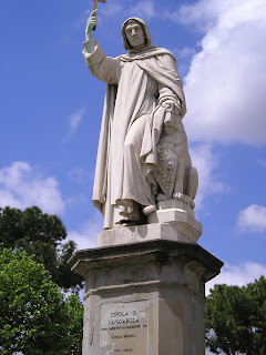 The statue of Girolamo Savonarola in  Piazza Savonarola in Florence