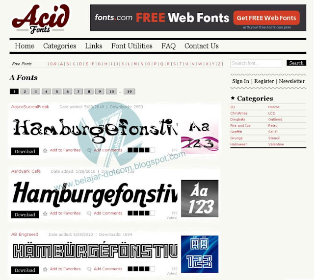12 Situs Terbaik Tempat Download Font Gratis fan Keren Untuk Desain
