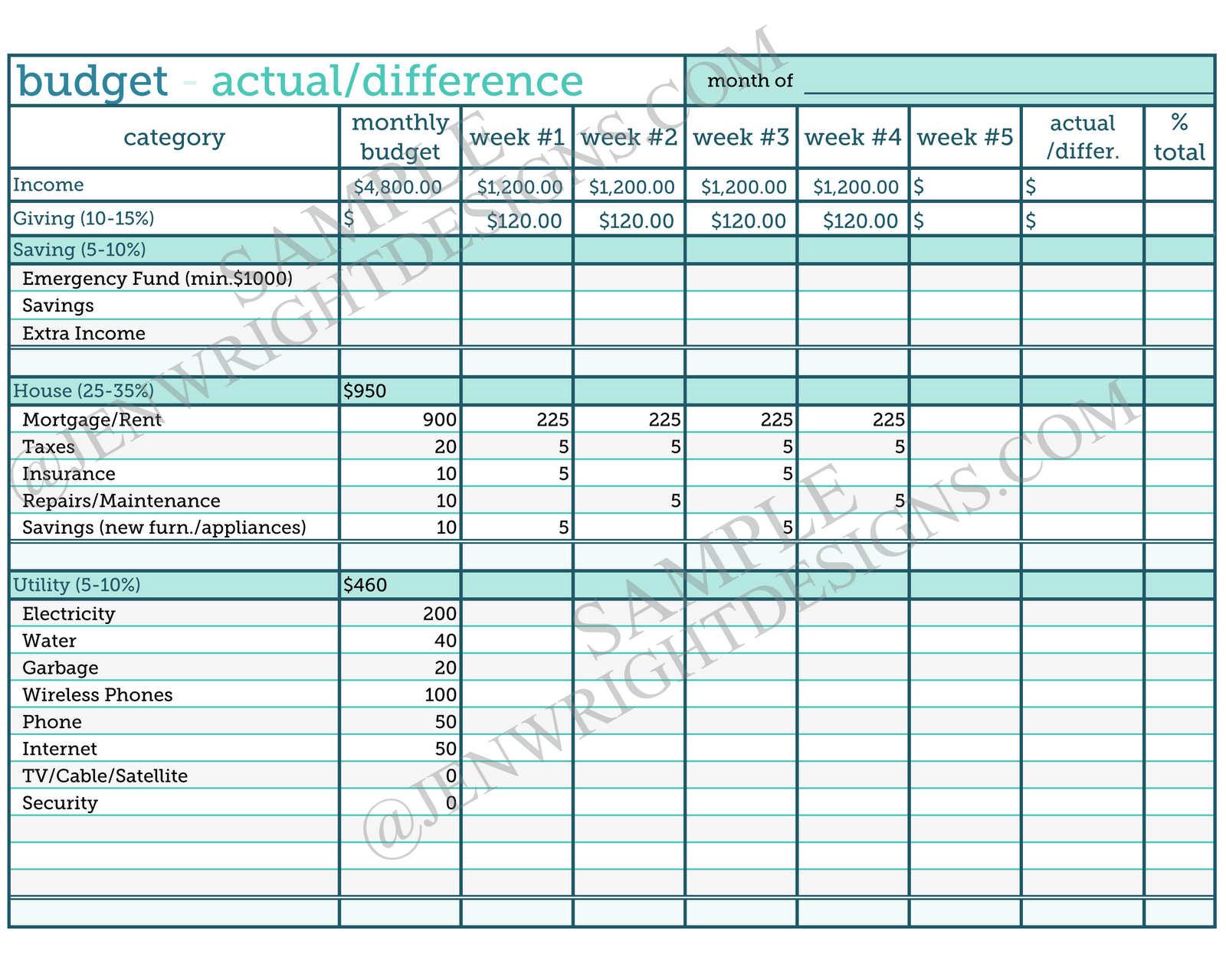 Download Free Software Sample Of Household Budget Template