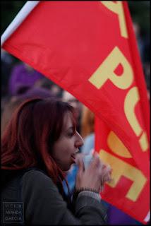 8M,manifestacion,feminista,dia,mujer,valencia,comunista,bandera