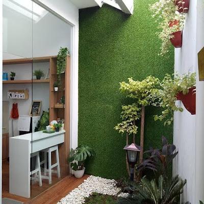 desain ruang tamu minimalis terbuka warna hijau