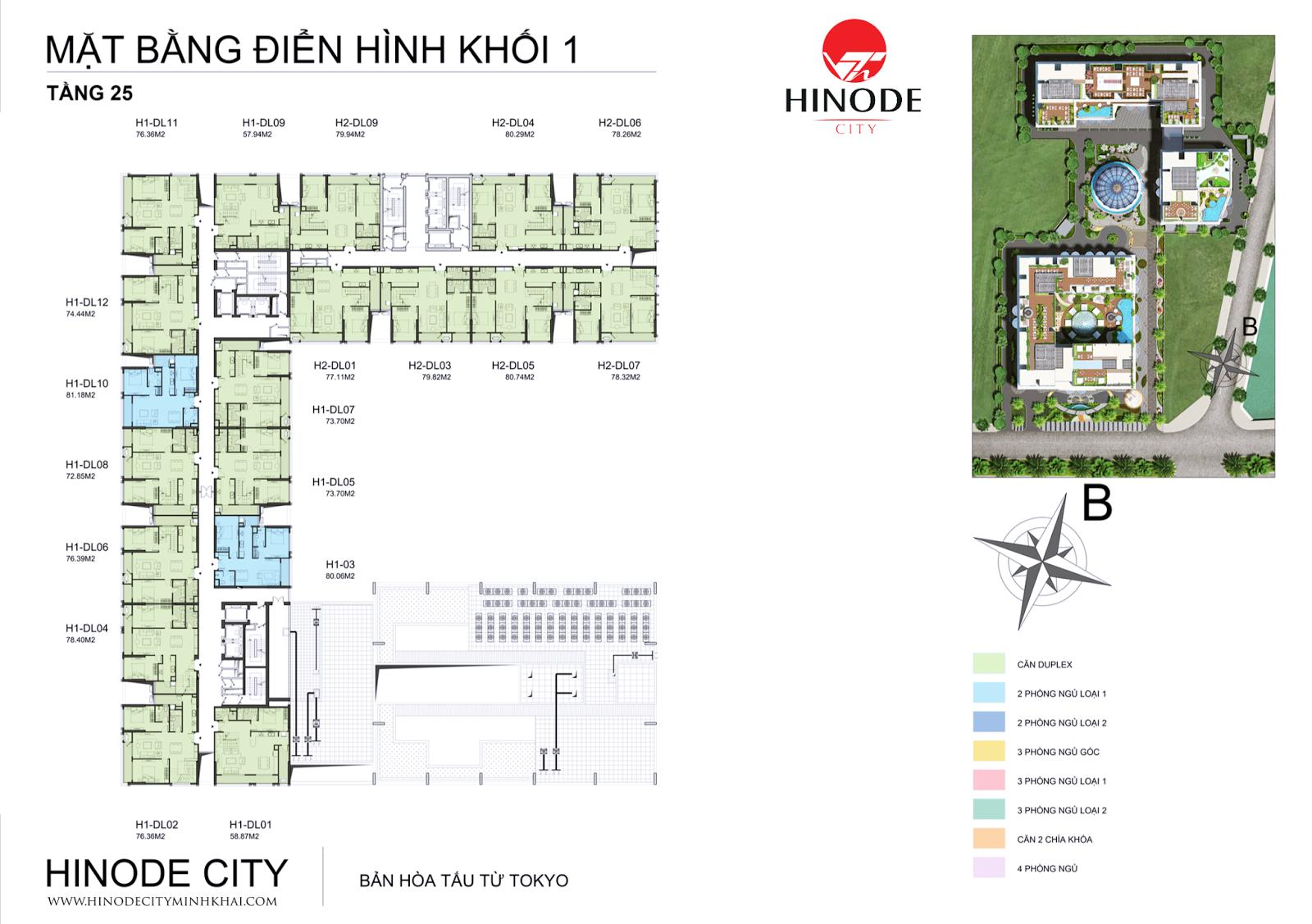 Mặt bằng điển hình tầng 27 chung cư Hinode City