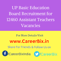 UP Basic Education Board Recruitment for 12460 Assistant Teachers Vacancies