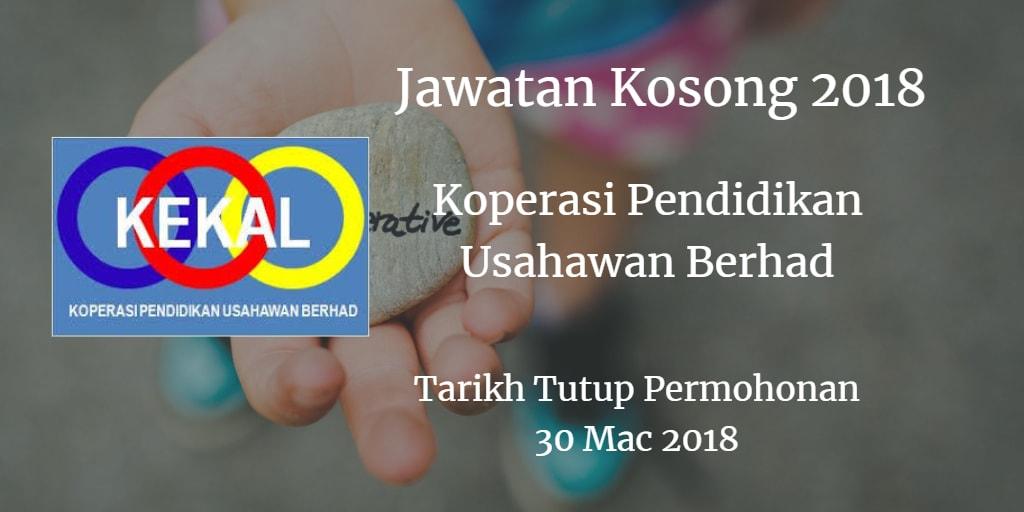 Jawatan Kosong Koperasi Pendidikan Usahawan Berhad 30 Mac 2018