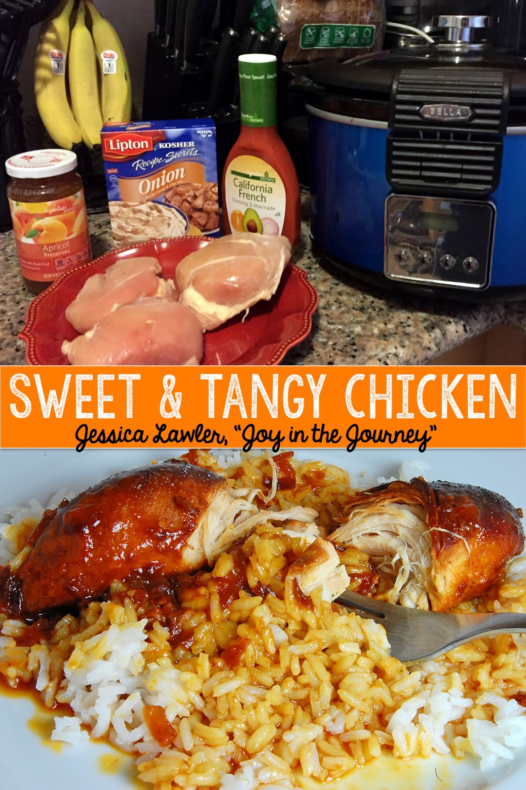 This quick and easy crock pot meal is the delicious blend of sweet and tangy - and with only four ingredients, it's a great go-to for week night dinners.