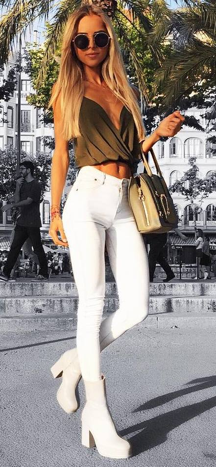 stylish summer outfit: bag + top + skinnies + heels