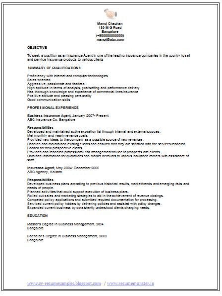 free sample resume for insurance agent