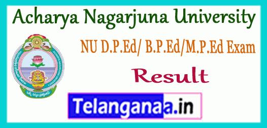 ANU Acharya Nagarjuna University B.P.Ed M.P.Ed D.P.Ed Exam Result