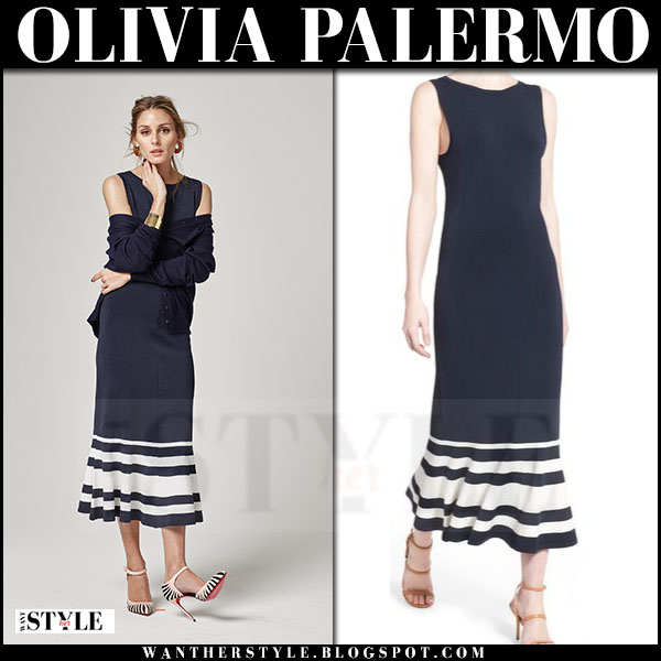 Olivia Palermo in blue striped maxi dress Chelsea28 spring 2016 new collection
