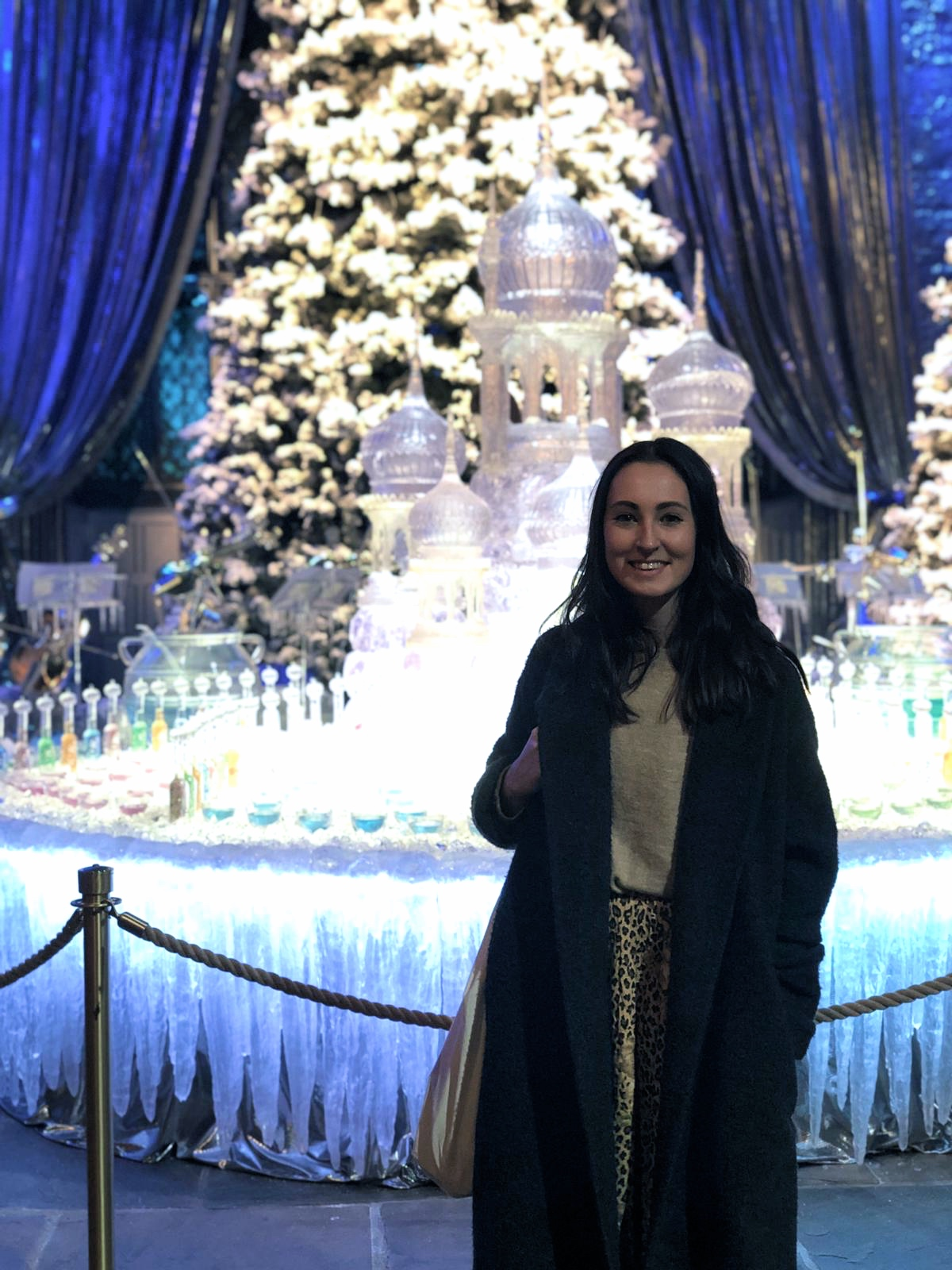 Standing in front of the ice sculpture at the Yule Ball