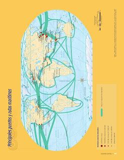 Apoyo Primaria Atlas de Geografía del Mundo 5to. Grado Capítulo 4 Lección 3 Principales Puertos y Rutas Marítimas