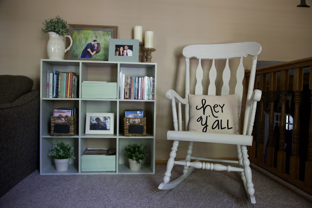 Farmhouse Rocking Chair White and Pale Greens