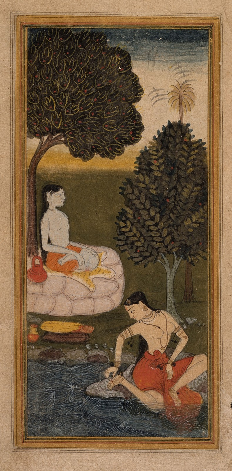 An Ascetic Sitting under a Tree and a Woman Plucking a Thorn from her Foot, Folio from a Sukra Rambha Samvada  - Mughal Painting, Early 17th Century