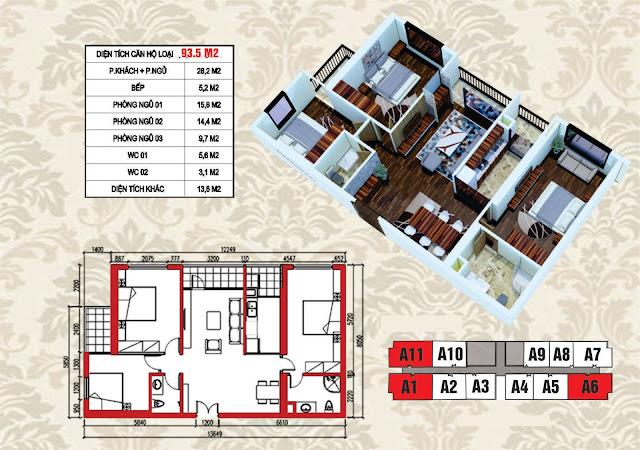 Mặt bằng điển hình căn hộ 93,5m2