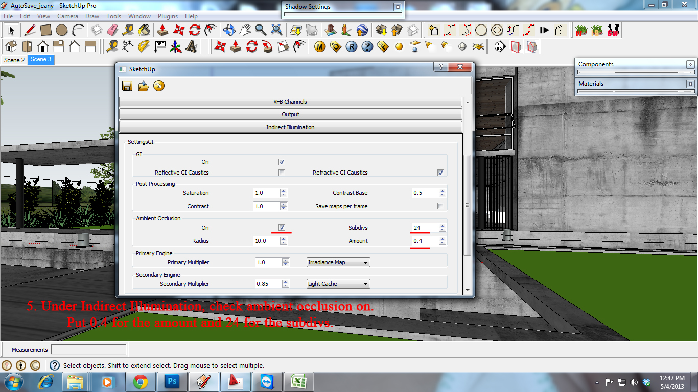 SKETCHUP TEXTURE: TUTORIAL VRAY FOR SKETCHUP NIGHT SCENE #3