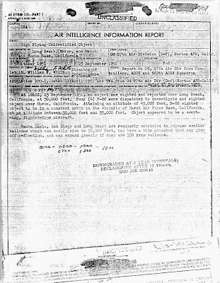 Air Intelligence Information Report Re UFOs Over Long Beach & Muroc, California & Post Pursuit 9-23-1951