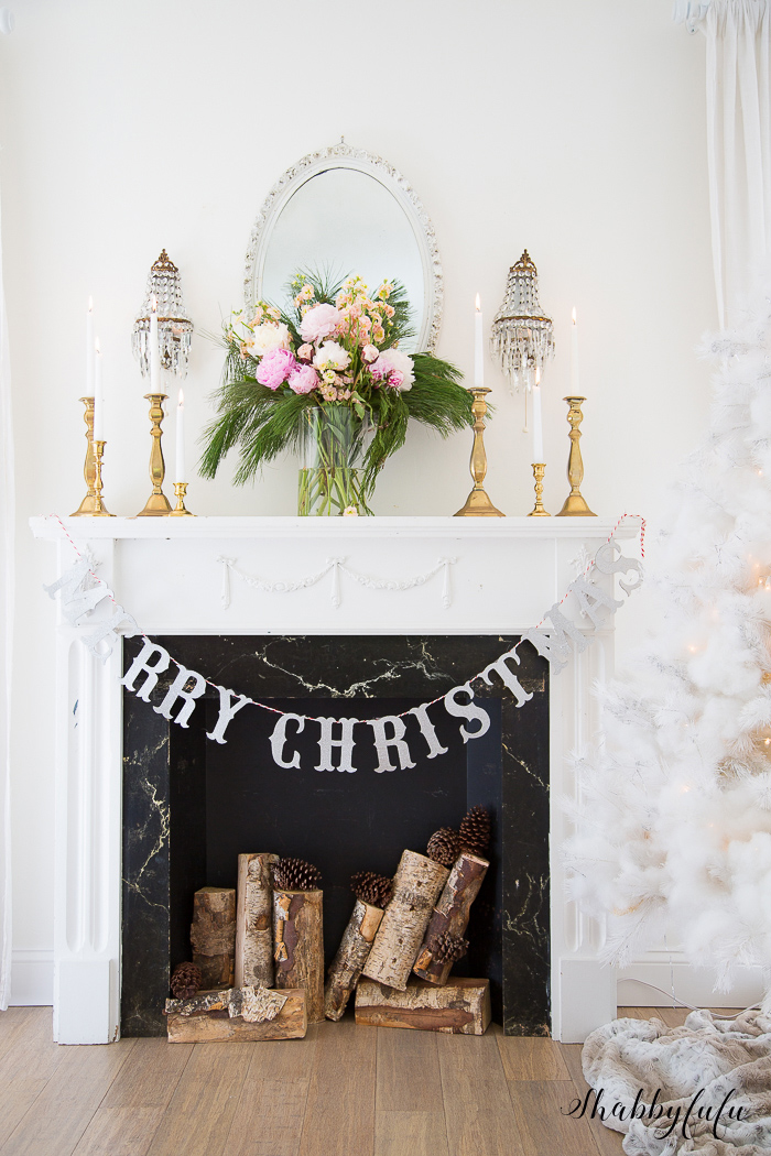 French country mantel with peonies