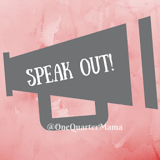 "A dark grey megaphone picto with the words, ""speak out!"" in white on a light red watercolour background by OneQuarterMama.ca."