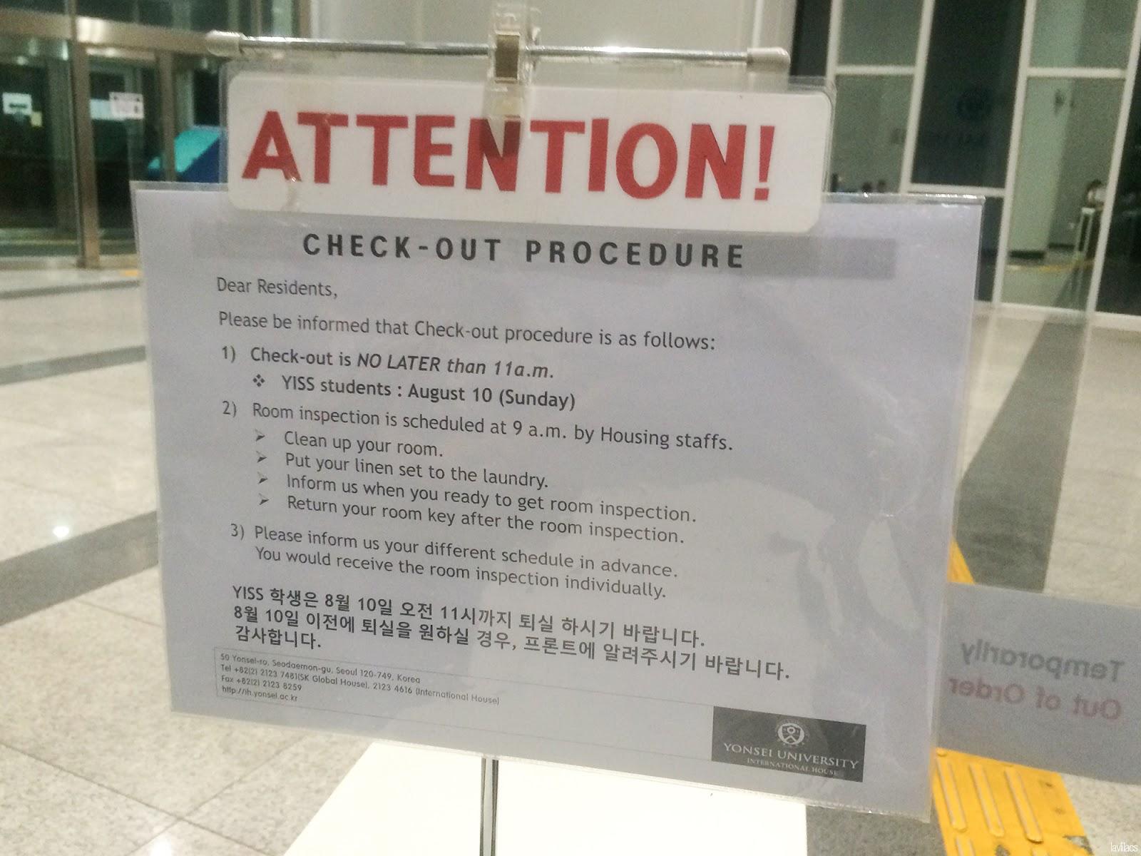 Seoul, Korea - Summer Study Abroad 2014 - Ending near - Checkout procedure at SK Global House