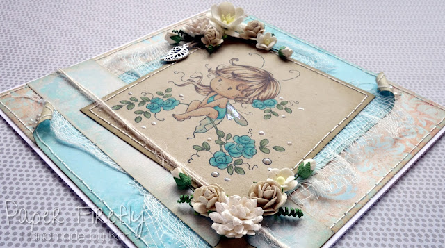 Shabby chic fairy card using Sweetie by Wee Stamps for Whimsy stamps, coloured on Kraft