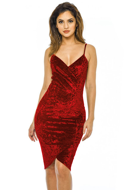 Red Velvet Bodycon Dress With Wrap Front