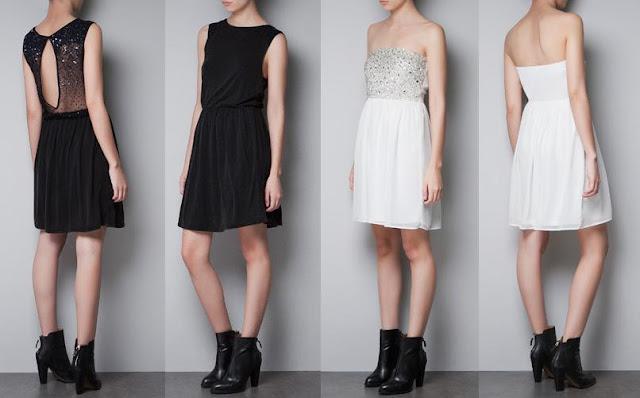 vestidos de nochevieja zara lentejuelas negro y blanco
