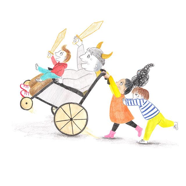 ilustrción de niños, niños jugando, niños y abuelo jugando, hombre mayor en silla de ruedas, ilustración de niños jugando, Mar Villar,