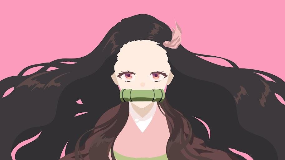 Nezuko Kamado Kimetsu No Yaiba Minimalist 4k Wallpaper 141