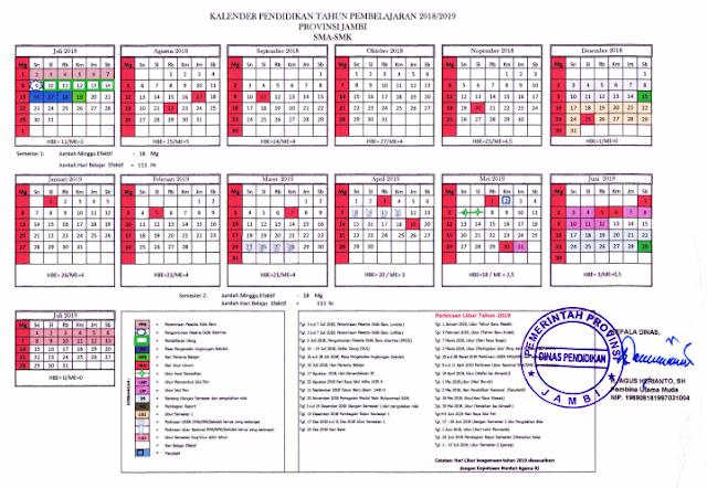 Kalender Pendidikan 2018/2019 Jambi
