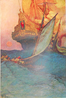 A lushly colored illustration of a rowboat of figures behind a large ship.