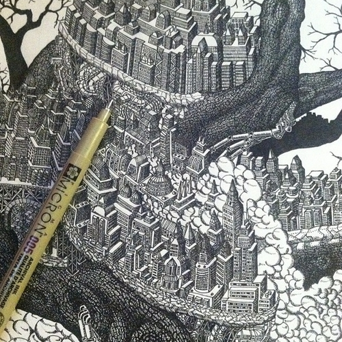 04-Tree-of-Industry-Kyle-Leonard-Miniature-Drawings-of-Human-and-Environment-Struggle-www-designstack-co